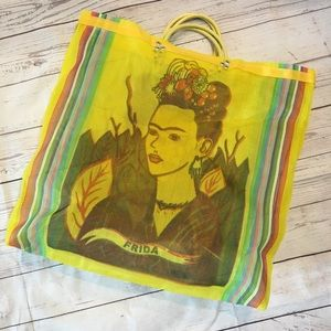 Handbags - FRIDA KAHLO Yellow Mesh Graphic Reusable Tote
